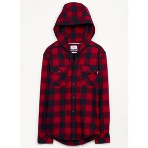 Aritzia TNA Hooded Flannel Button-Up Boyfriend Fit